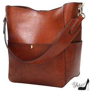 The Shoe Loft Bags - Cognac Hobo Style Bucket Bag with Handle/Strap